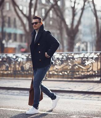 How to wear: navy pea coat, grey turtleneck, navy skinny jeans, white low top sneakers