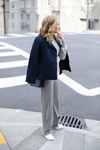 How to wear: navy pea coat, grey turtleneck, grey wide leg pants, white canvas low top sneakers