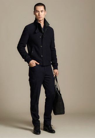 Pair a black pea coat with black cargo pants if you\u0027re going for a