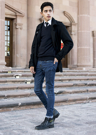 How To Wear Blue Jeans With Black Leather Boots For Men: A black pea coat and blue jeans are the perfect way to introduce muted dapperness into your casual rotation. Let your sartorial prowess really shine by complementing this ensemble with a pair of black leather boots.