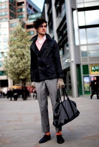 Men's Looks & Outfits: What To Wear In 2020: A navy pea coat and grey dress pants are a classy combination that every modern guy should have in his arsenal. A pair of navy canvas low top sneakers can instantly dial down a classic look.
