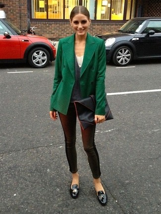 Olivia Palermo wearing Dark Green Pea Coat, Charcoal V-neck Sweater, Black Leather Leggings, Black Leather Tassel Loafers