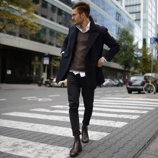 How To Wear Black Jeans With Dark Brown Leather Boots For Men: Pair a navy pea coat with black jeans to look sophisticated but not too formal. If not sure about what to wear in the shoe department, introduce a pair of dark brown leather boots to this outfit.