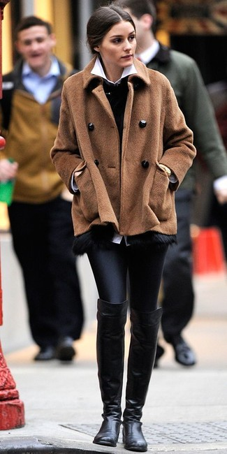 How to Wear a Brown Pea Coat (2 looks) | Women's Fashion