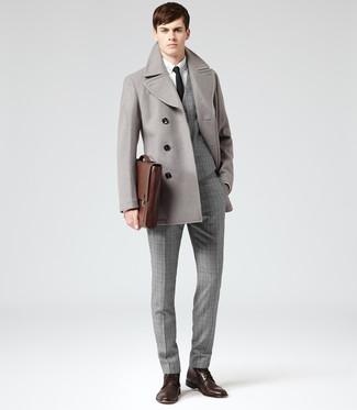 Men&39s Grey Pea Coat Grey Plaid Waistcoat White Dress Shirt Grey