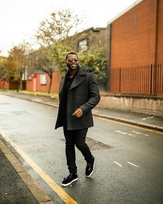 Pea Coat Outfits: If the situation calls for an elegant yet neat getup, you can easily go for a pea coat and black jeans. Black suede high top sneakers will add a little edge to an otherwise standard getup.