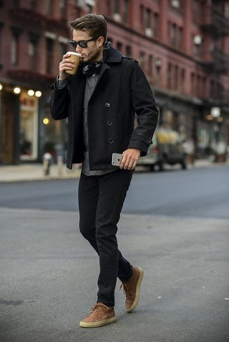 How to Wear a Charcoal Zip Sweater For Men: For a laid-back and cool look, team a charcoal zip sweater with black jeans — these two pieces work really well together. If you wish to effortlesslly dress down this look with shoes, why not introduce tan suede high top sneakers to the mix?