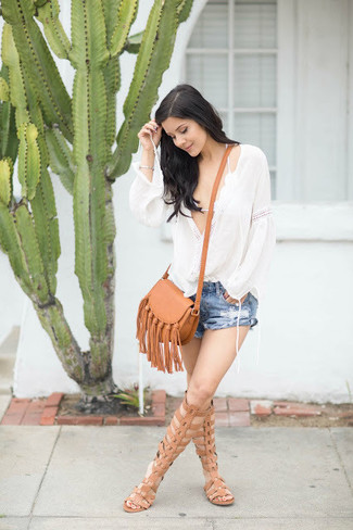 How to wear: white peasant blouse, white crochet bikini top, blue ripped denim shorts, tan leather knee high gladiator sandals
