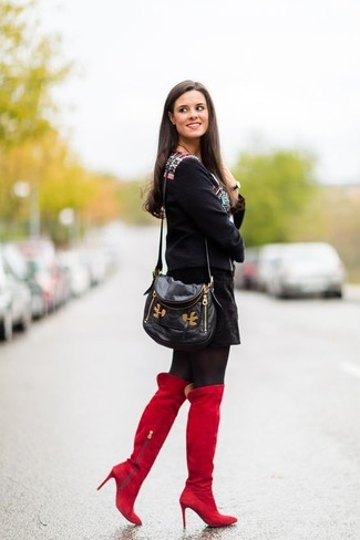 How to wear: black print peasant blouse, black suede mini skirt, red suede over the knee boots, black leather crossbody bag