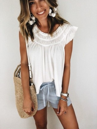 How to wear: white peasant blouse, light blue shorts, tan straw tote bag, silver bracelet
