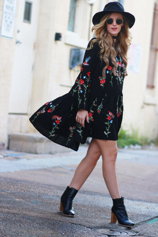 How to wear: black embroidered peasant dress, black leather ankle boots, black wool hat, black sunglasses
