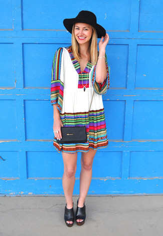 How to wear: white embroidered peasant dress, black chunky leather heeled sandals, black leather crossbody bag, black wool hat