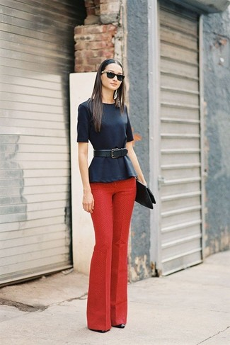 Women's Navy Peplum Top, Red Dress Pants, Black Leather Pumps ...