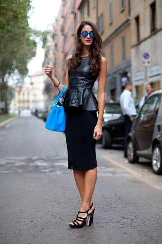 How to wear: black leather peplum top, black pencil skirt, black leather heeled sandals, aquamarine leather bucket bag