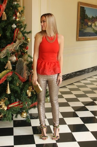 How to wear: red peplum top, gold sequin skinny pants, black embellished leather heeled sandals, gold leather clutch