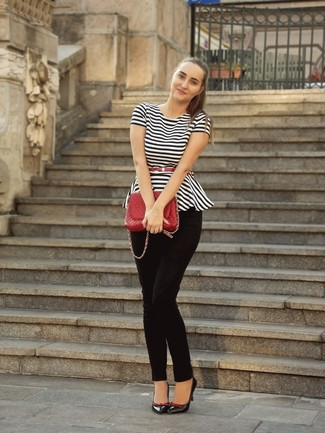 Look stylish yet practical in a white and black horizontal striped peplum top and a red quilted leather satchel bag. Lift up your getup with black leather pumps. What better choice for a summertime afternoon?