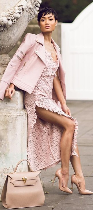 This pairing of a pink leather biker jacket and a pink lace maxi dress is a safe bet for an effortlessly cool look. And it's a wonder what a pair of tan leather pumps can do for the look. As you might be rightly thinking, this is also a knockout option when spring arrives.