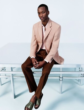 How to wear: pink blazer, pink dress shirt, dark brown dress pants, olive leather sandals