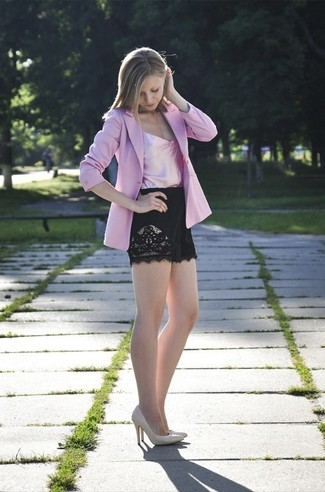 How to wear: pink blazer, pink silk tank, black lace shorts, beige leather pumps