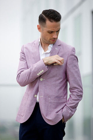 How to wear: pink blazer, white long sleeve shirt, navy chinos, beige pocket square