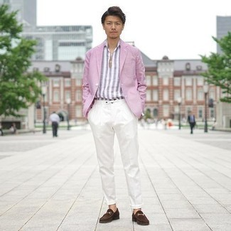 White Chinos Outfits: Channel your inner fashionisto and go for a pink blazer and white chinos. Perk up your ensemble by rounding off with a pair of dark brown suede loafers.