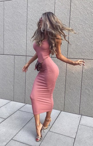 How to wear: pink bodycon dress, silver leather heeled sandals, dark brown leather clutch, pink sunglasses
