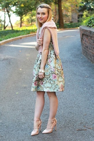 How to wear: pink cable sweater, mint floral fit and flare dress, beige leather pumps, white bracelet