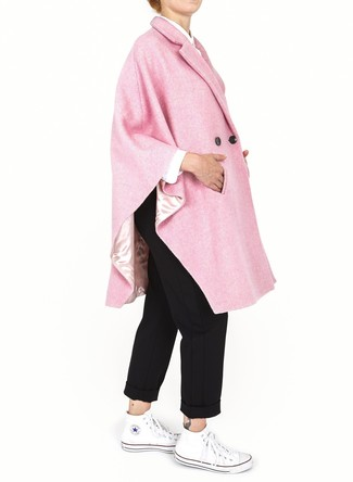 How to wear: pink cape coat, white dress shirt, black chinos, white canvas high top sneakers