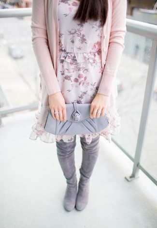 How to wear: pink cardigan, pink floral chiffon shift dress, grey suede over the knee boots, grey leather clutch