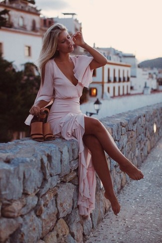 How to wear: pink chiffon maxi dress, tan leather heeled sandals
