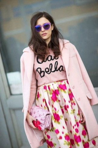 Women's Pink Coat, Pink Print Crew-neck Sweater, White and Pink Floral Full Skirt, Pink Satin Clutch