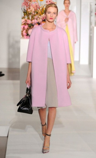 How to wear: pink coat, tan shift dress, silver leather pumps, black leather satchel bag