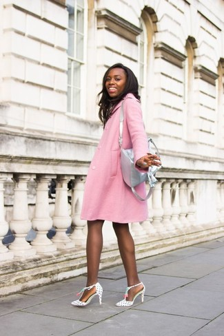 Grey Leather Backpack Outfits For Women: If you gravitate towards casual ensembles, why not take this pairing of a pink coat and a grey leather backpack for a spin? On the fence about how to finish off? Add a pair of white and black polka dot leather pumps to the mix to rev up the wow factor.
