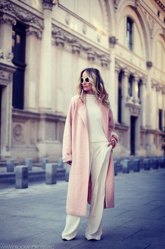 How to wear: pink coat, white crew-neck sweater, white wide leg pants, black and white sunglasses