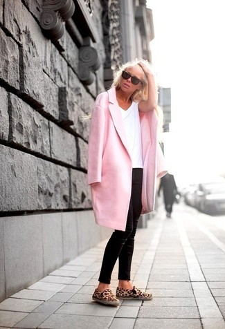 women s pink coat white crew neck t shirt black skinny pants tan