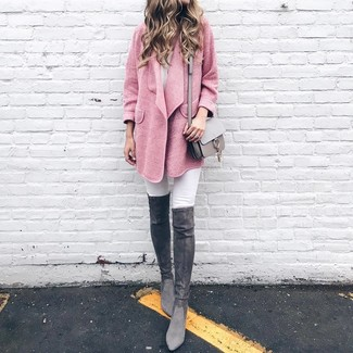 How to Wear Charcoal Suede Over The Knee Boots: A pink coat and white skinny jeans are powerful players in any woman's wardrobe. Introduce charcoal suede over the knee boots to this outfit and the whole ensemble will come together.