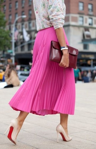 Women's Pink Floral Crew-neck Sweater, Hot Pink Pleated Midi Skirt, Beige Leather Pumps, Burgundy Leather Clutch