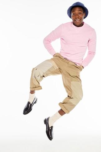 Men's Pink Crew-neck Sweater, Khaki Chinos, Dark Brown Leather Loafers, Beige Socks