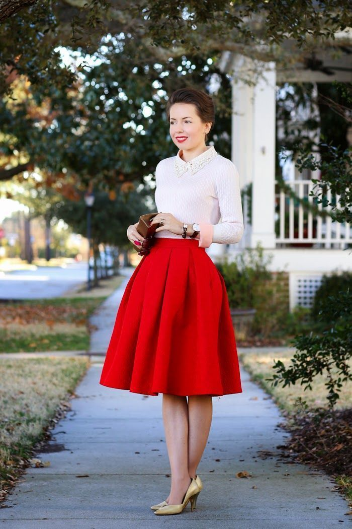 How to Wear a Red Full Skirt (19 looks) | Women's Fashion