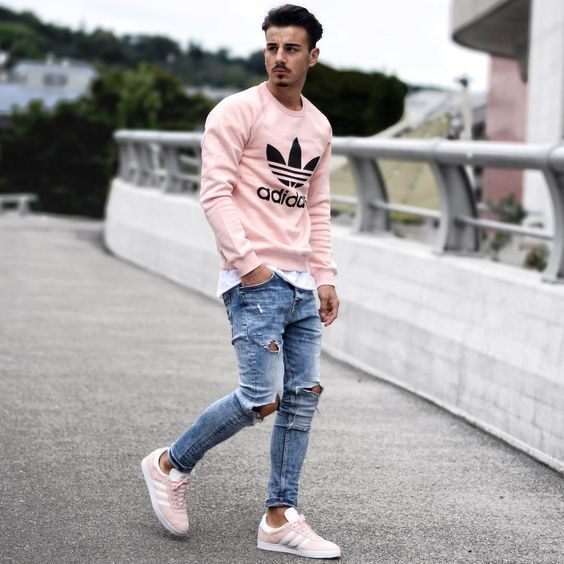 How to Wear a Pink Crew-neck Sweater (27 looks) | Men's Fashion