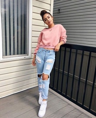 How to wear: pink cropped sweater, light blue ripped boyfriend jeans, white leather high top sneakers