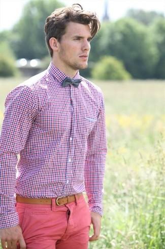 Men 39 s pink gingham dress shirt charcoal plaid bow tie for Men s red gingham dress shirt