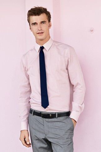 How to wear: pink vertical striped dress shirt, grey dress pants, navy tie, black leather belt