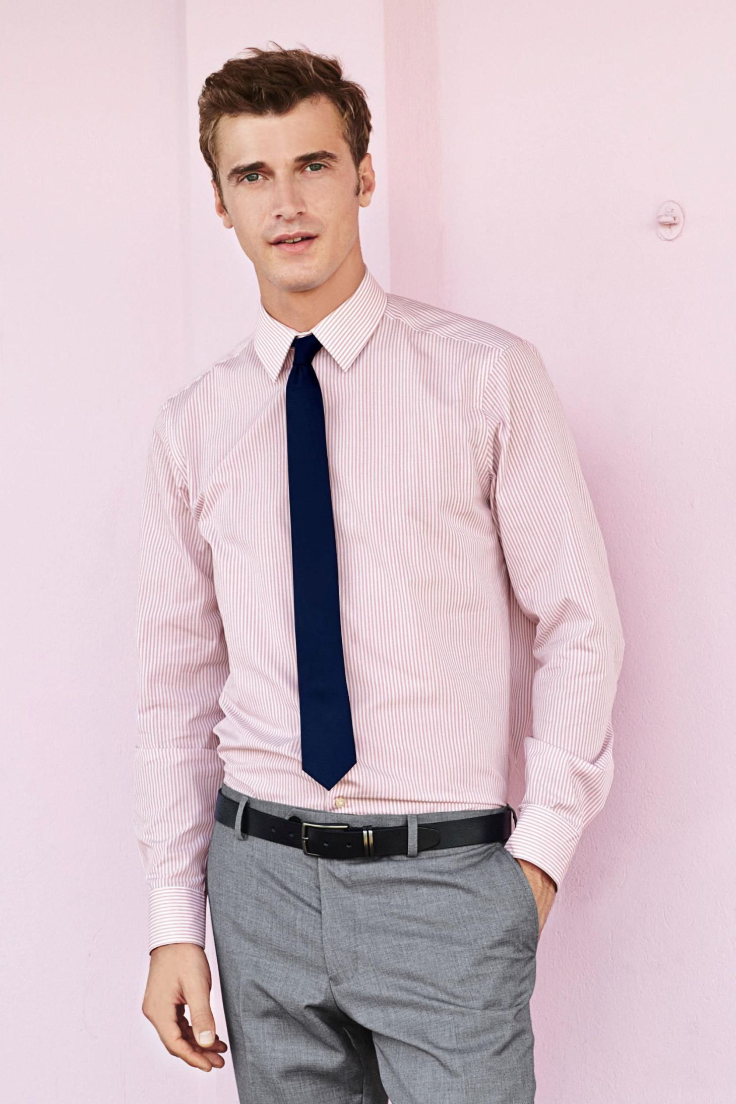 Men's Pink Vertical Striped Dress Shirt, Grey Dress Pants, Navy ...