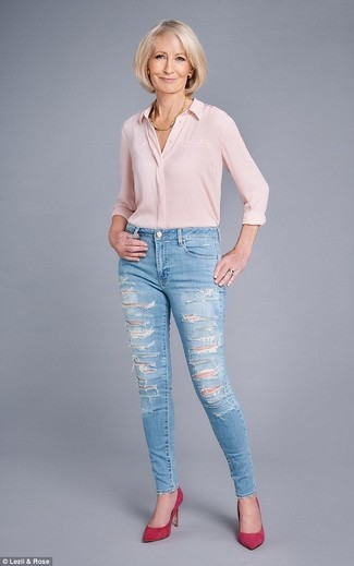 How to wear: pink silk dress shirt, light blue ripped skinny jeans, hot pink suede pumps, gold necklace