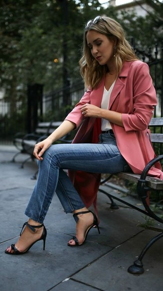 How to wear: pink duster coat, white silk tank, blue skinny jeans, black leather heeled sandals