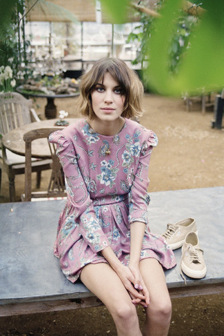 Alexa Chung wearing Pink Floral Skater Dress, Tan Low Top Sneakers, Gold Pendant