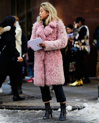 How to wear: pink fur coat, black chinos, black leather ankle boots