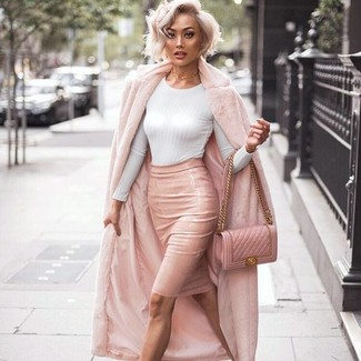 How to wear: pink fur coat, white crew-neck sweater, pink leather pencil skirt, pink quilted leather crossbody bag