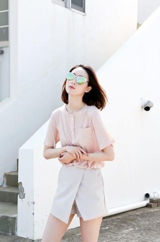 Henley Shirt Light Pink Ladies